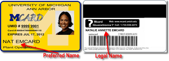 Preferred Name on Mcard example