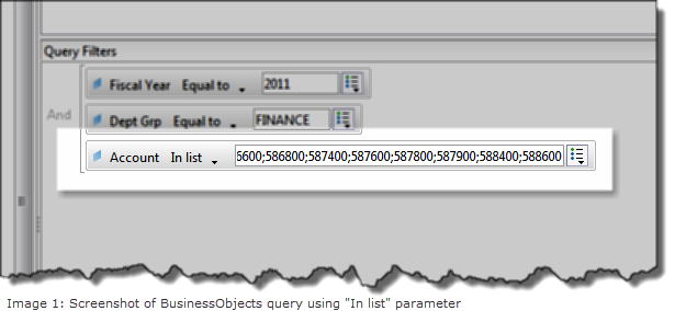 "Sample image of Data Warehouse (BusinessObjects) ""In list"" parameter"